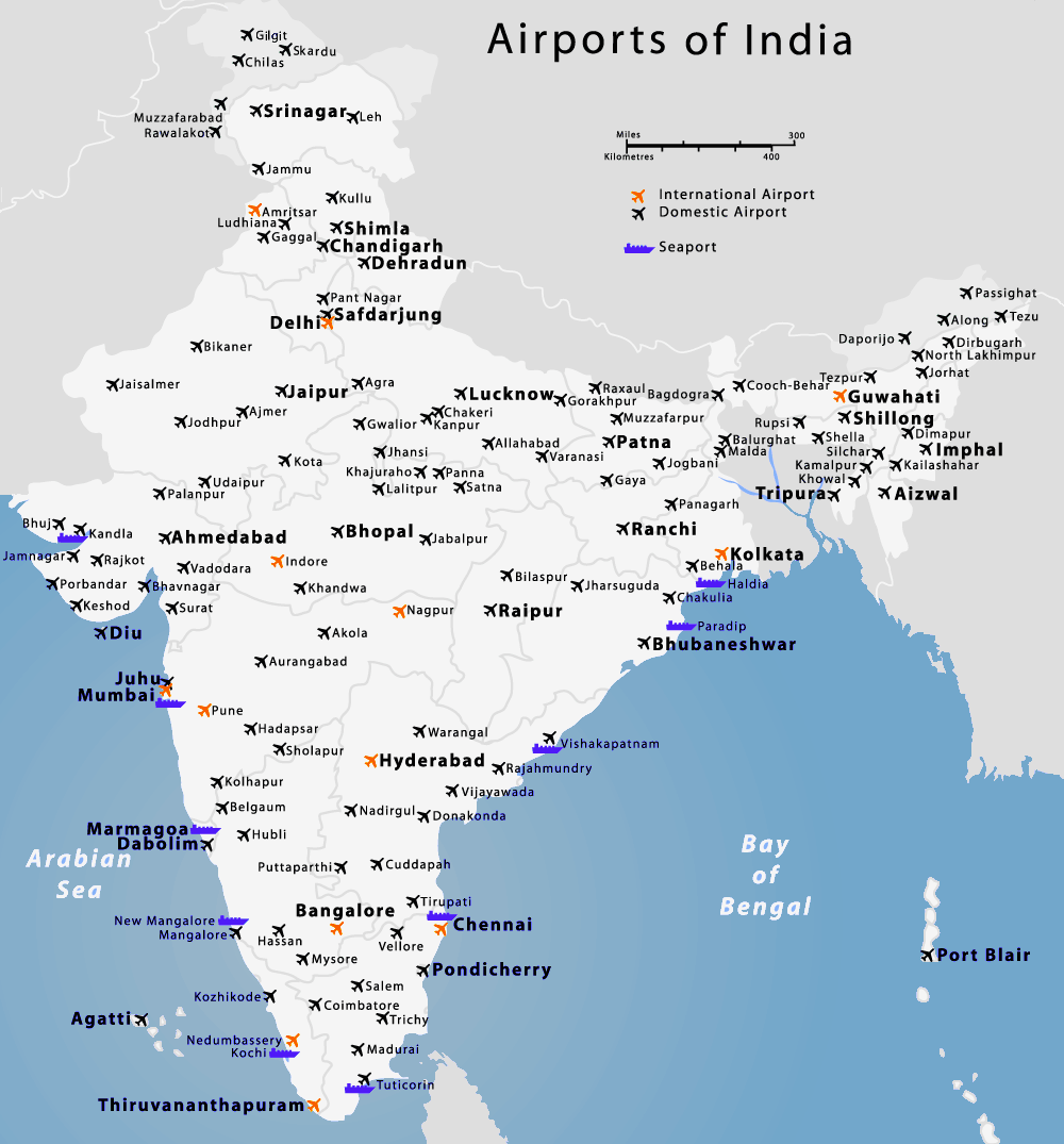 Indian Airport Map Indian Airports Map